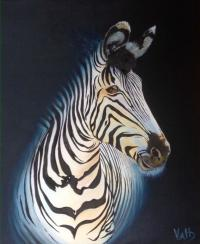 Valerie Helmers zebra in oil